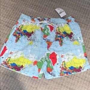 Forever 21 men's world map NWT swim trunks - M
